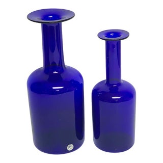 Pair of Graduating Cobalt Holmegaard Glass Bottle Vases, by Otto Brauer For Sale