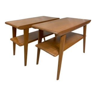 Mid-Century Heywood Wakefield Champagne Finish Stands - a Pair For Sale