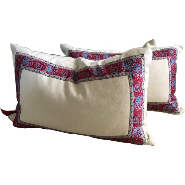 Raspberry Red Vintage Paisley Trim Pillows - a Pair For Sale - Image 8 of 8