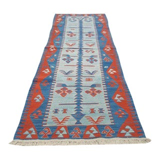 1970s Vintage Turkish Flat Woven Runner Rug - 2′5″ × 6′3″ For Sale