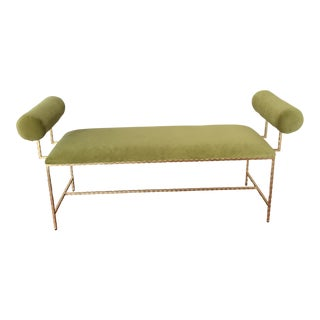 Worlds Away Miller Bench, Green Gold For Sale