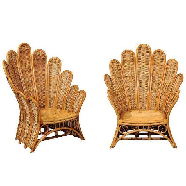 Majestic Restored Pair of Vintage Rattan and Wicker Palm Frond Club Chairs For Sale - Image 13 of 13