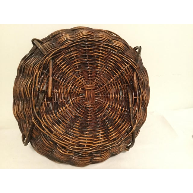 Wicker Brown Decorative Basket For Sale - Image 7 of 8
