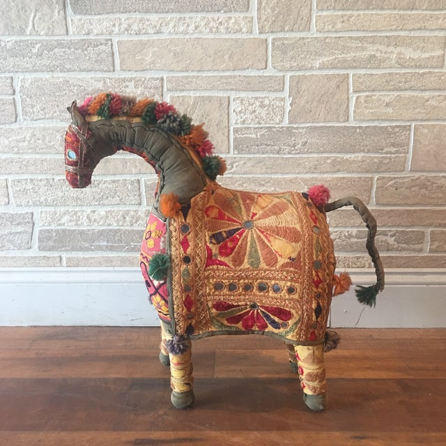 Boho Chic Vintage Rajasthan Hand Embroidered Indian Horse For Sale - Image 3 of 11