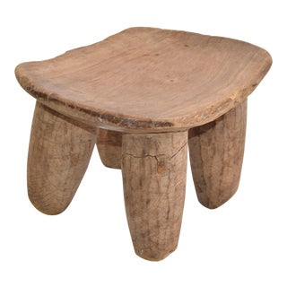 Organic African Tribal Art, Folk Art Hand Carved Wood Stool, Headrest For Sale