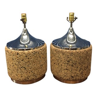 Mid-Century Cork & Chrome Table Lamps - A Pair For Sale