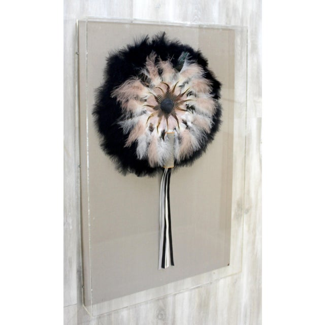 Contemporary Contemporary Lucite Framed Greg Copeland Feather Flower Mixed Media 1981 For Sale - Image 3 of 8