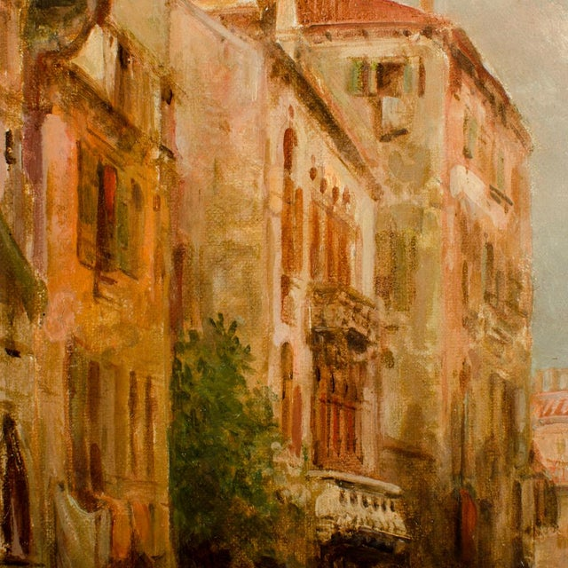 """19th Century """"Venice in June"""" Cityscape Oil Painting by Alfred Pollentine For Sale - Image 4 of 10"""