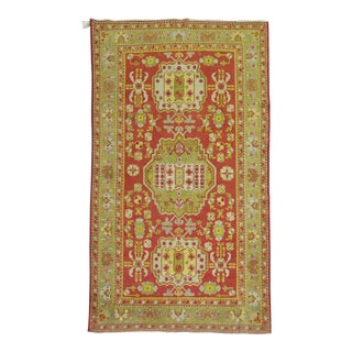Antique Red Khotan Fine Quality 5 X 8 Wool Rug For Sale