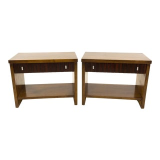 Lane Tower Suite Mid Century 1 Drawer Walnut and Rosewood Side End Tables - a Pair For Sale