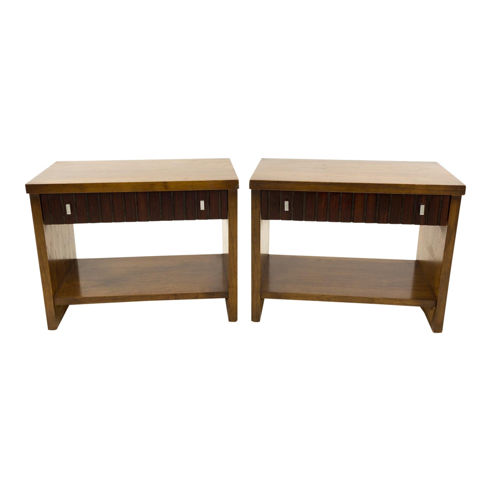 Mid Century Modern Lane 1 Drawer Walnut And Rosewood End Tables A