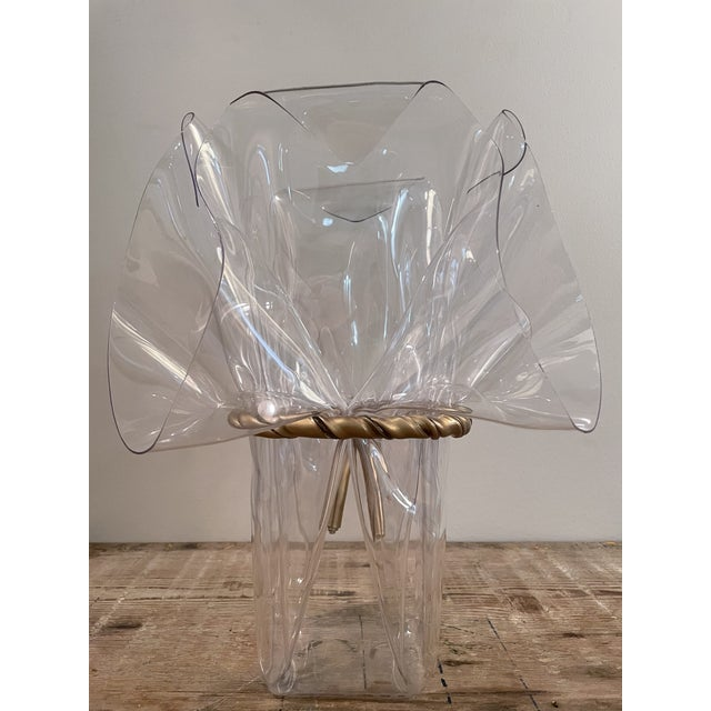 1970s Handkerchief Lucite Planter Vase With Gilt Bow For Sale - Image 4 of 7