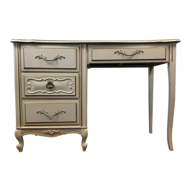 Vintage Shabby Chic White & Gold Hand Painted Wood Desk For Sale