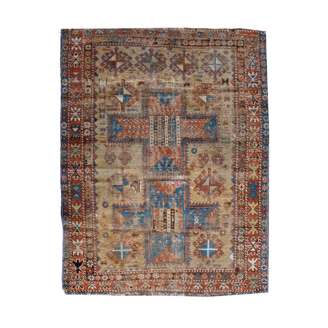 Traditional Late 19th Century 'Super Worn' Antique Caucasian Rug For Sale - Image 3 of 9