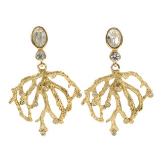 Yves Saint Laurent Paris Gilt Metal Clip Earrings Dangling Branch & Rhinestones For Sale