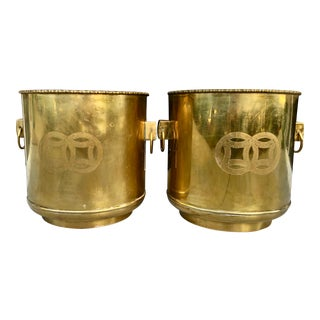 Pair Large Brass Planter For Sale