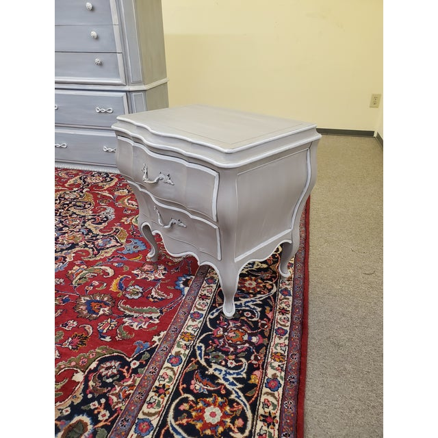 Vintage distressed hand painted bombay style French nightstand by Union National Inc.
