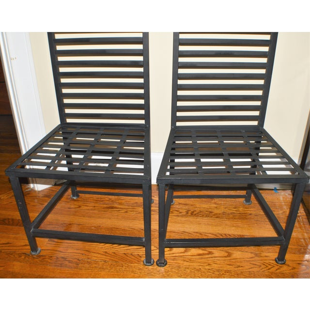 1990s Vintage Brutalist Metal Chairs- A Pair For Sale - Image 4 of 7