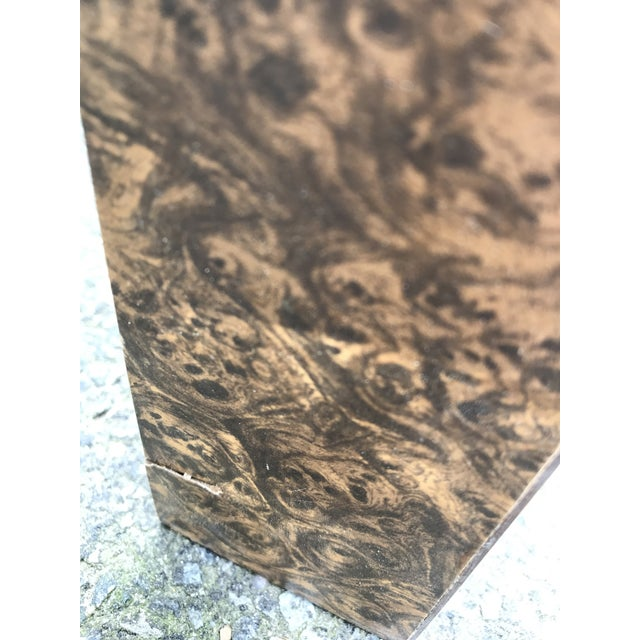 Vintage Burl Wood Laminate Parsons Style Dining Table For Sale - Image 9 of 10