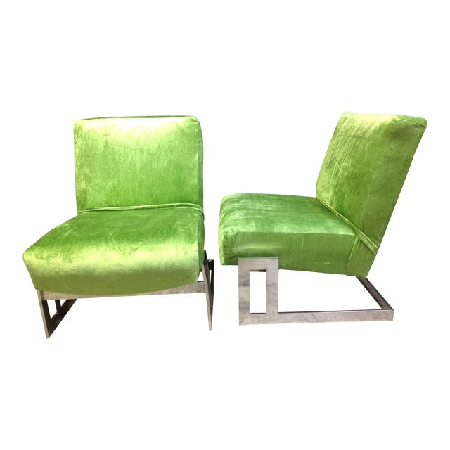 Milo Baughman Style Chrome Accent Chairs - A Pair - Image 1 of 6