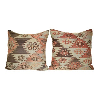 Pair of Handwoven Tribal Wool Turkish Vintage Kilim Cushions or Pillows 20'' X 20'' (50 X 50 Cm) For Sale