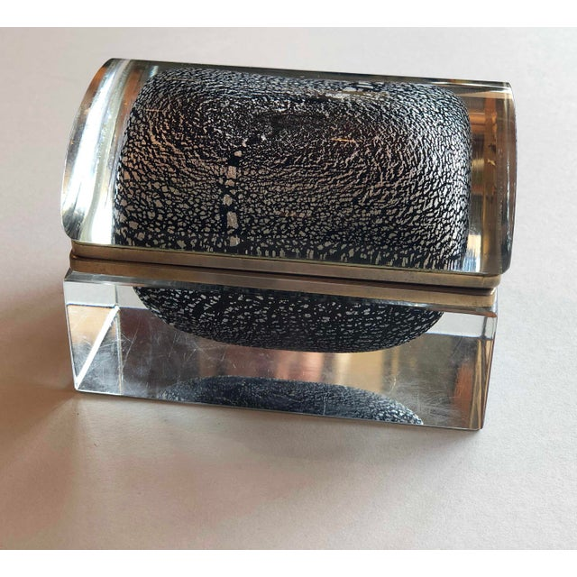 Italian Mid Century Silver Leaf and Black Murano Sommerso Box For Sale - Image 9 of 9