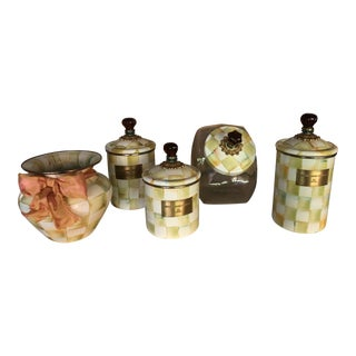 Mackenzie Childs Parchment Check Enamel Kitchen Jars - Set of 5 For Sale