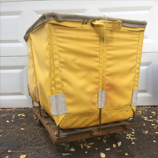 Yellow Dandux Laundry Cart For Sale - Image 4 of 6