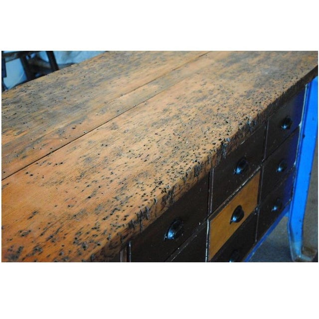 Vintage Wood Workbench Table or Console - Image 7 of 9