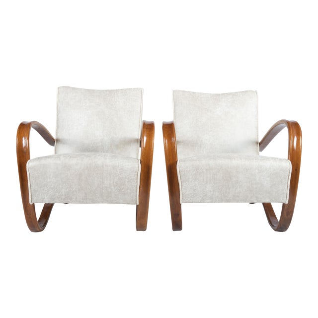 H269 Lounge Chair by Jindrich Halabala for Thonet, 1930s - A Pair For Sale