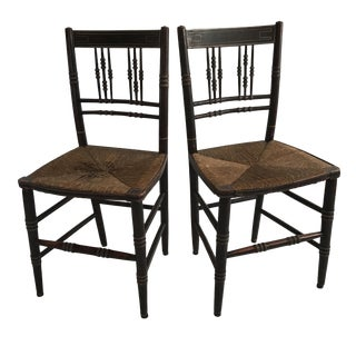 Faux Bamboo Rush Seat Chairs - a Pair
