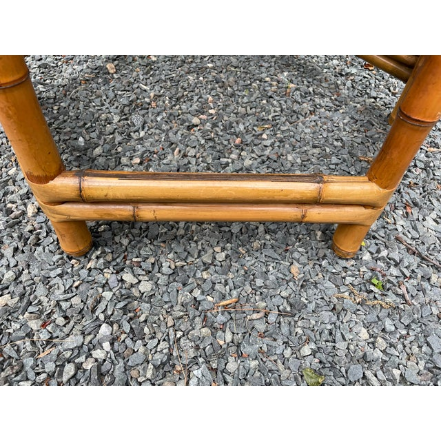 Mid-Century Modern Vintage Bamboo Octagonal Side Table For Sale - Image 3 of 9
