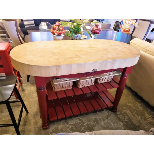 John Boos Red Maple Butcher Block Island With 3 Baskets For Sale - Image 11 of 11