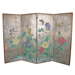 Hand Painted Japanese Screen with Silver Tea Paper Background