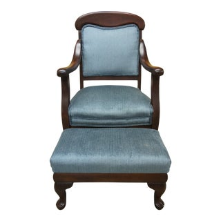 20th Century Victorian Mahogany Gentleman's Arm Chair & Ottoman - 2 Pieces For Sale