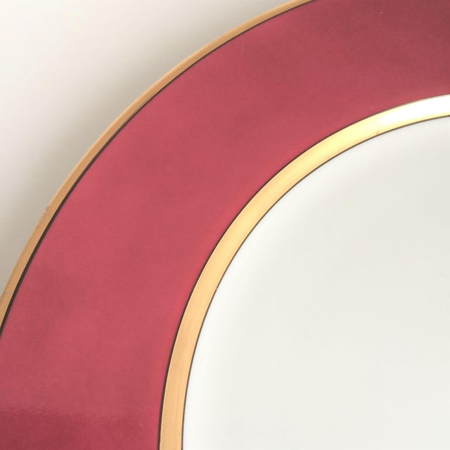 """Fitz and Floyd Fitz & Floyd """"Renaissance"""" Magenta Dinner Plates - Set of 4 For Sale - Image 4 of 6"""