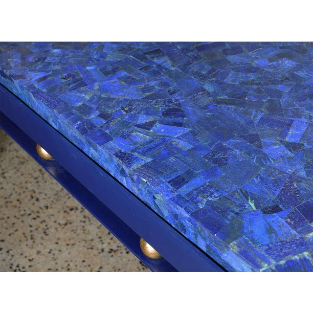 Important Iron Library Table with Lapis Lazuli Top in the Manner of Royere - Image 7 of 8