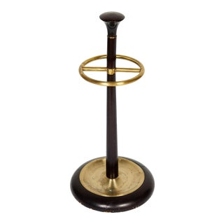 20th Century Brass and Mahogany Umbrella Stand For Sale