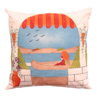 Canoe Scene Handpainted Pillow