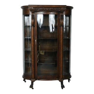 1930's Tiger Oak Curio Cabinet