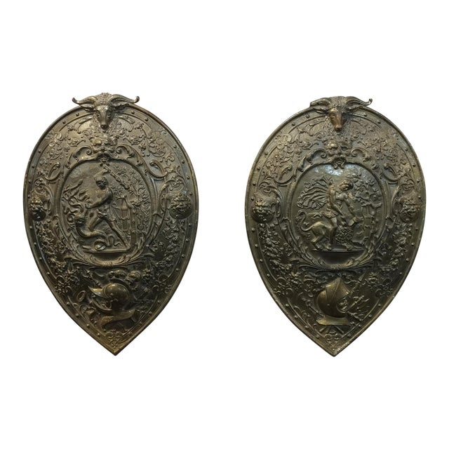 Vintage Mythological Bronze Wall Plaque Shields - A Pair For Sale