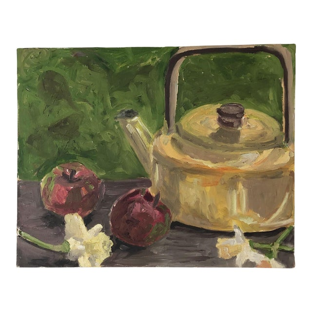 Original Still Life With Tea Kettle, Apples and Flowers For Sale