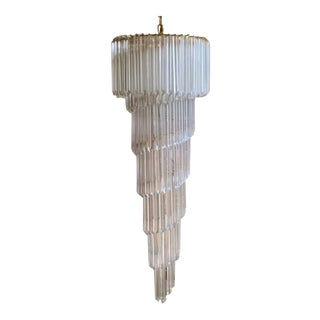 Vintage Murano Quadriedo Spiral Chandelier For Sale