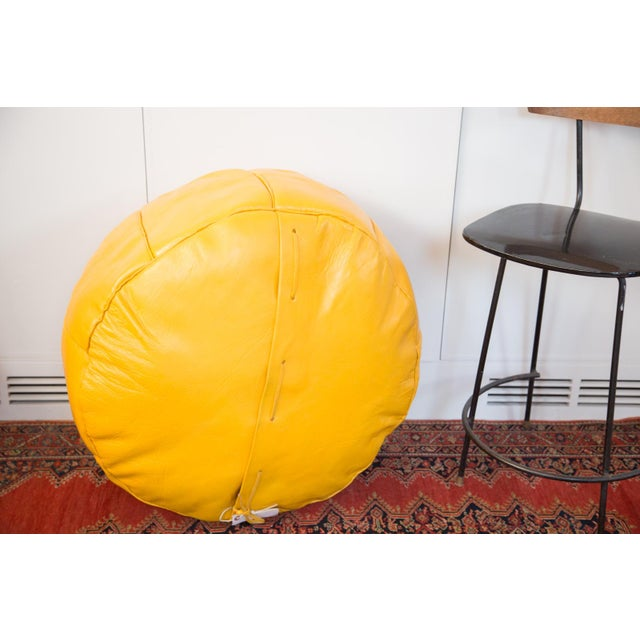 Yellow Antique Leather Moroccan Pouf Ottoman, Fly Yellow For Sale - Image 8 of 8