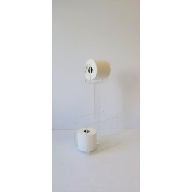 Acrylic 1970s Modern Magazine Holder Rack and Toilet Tissue Holder For Sale - Image 7 of 11