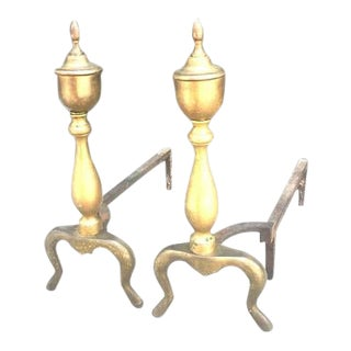 Mid-Century Brass Andirons - a Pair For Sale