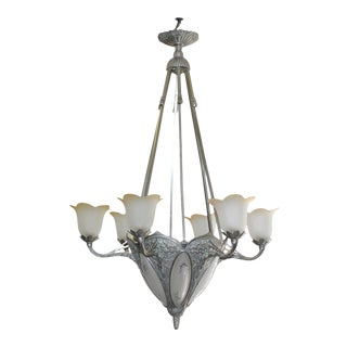 1930s French Art Deco Nickeled Bronze and Frosted Glass Six-Arm Chandelier For Sale