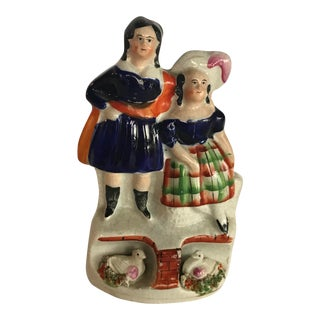 Staffordshire Couple With Geesecouple Figurine For Sale