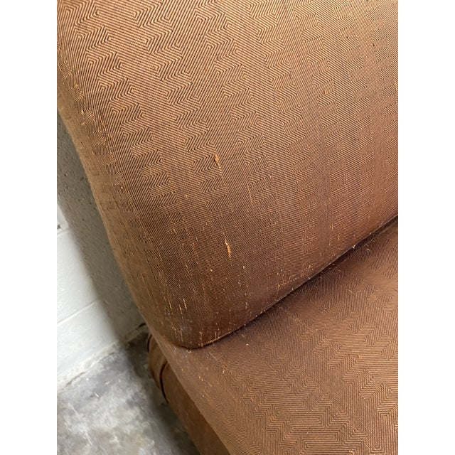 Copper Copper Silk Shantung Rolled Back Slipper Chairs-A Pair For Sale - Image 8 of 12