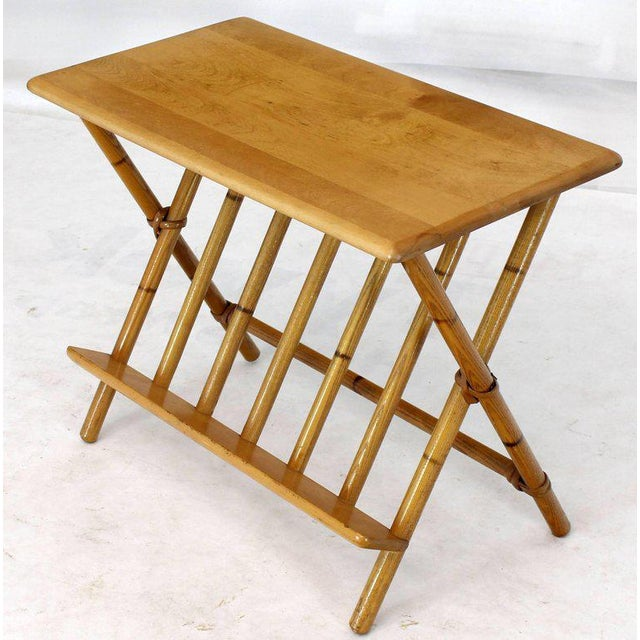 Birch Pair of Faux Burnt Bamboo X-Base Rectangular Side End Tables With Magazine Rack For Sale - Image 7 of 12